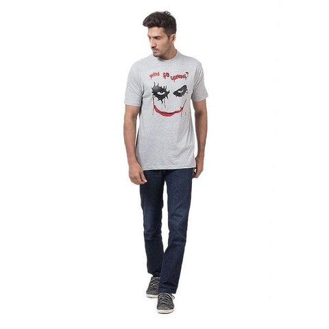 The Ajmery - Cotton Printed T-Shirt For Men - Grey
