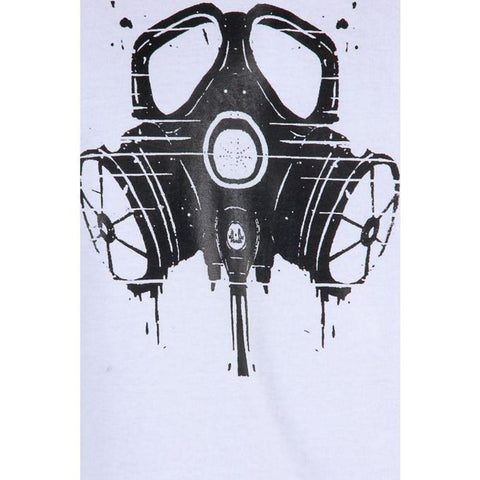 The Ajmery - Cotton Gas Mask Printed T-Shirt - White