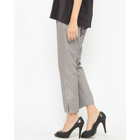 Ajmery Enterprise - Cotton Embroidered Cigarette Pant for Women - AJ-651 - Grey