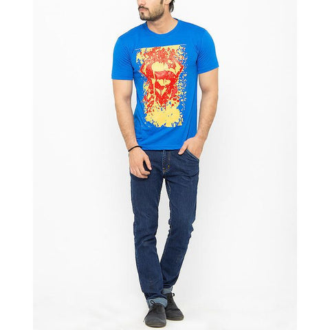 The Ajmery - Cotton Exclusive Superman Printed T-Shirt for Men - Blue