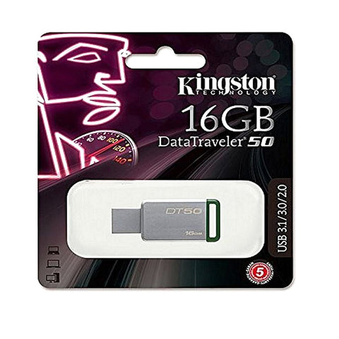 Kingston - USB - 3.1/3.0/2.0 - Flash Drive 16Gb - DT50 - Silver