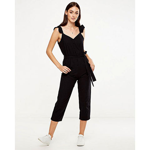 Cotton Tapered Jumpsuit For Women - Black