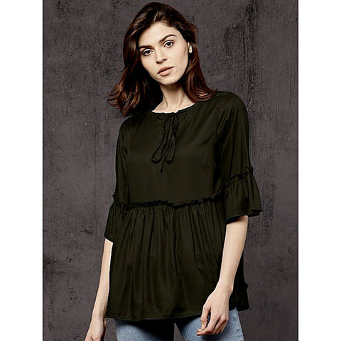 Silk Ruffled Detail A Line Top For Women -  Green