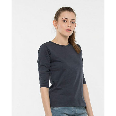 Katy & Cross 3/4Th Sleeve T-Shirt For Women -  Charcoal