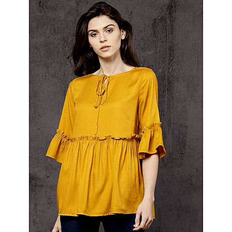Silk Ruffled Detail A Line Top For Women - Yellow