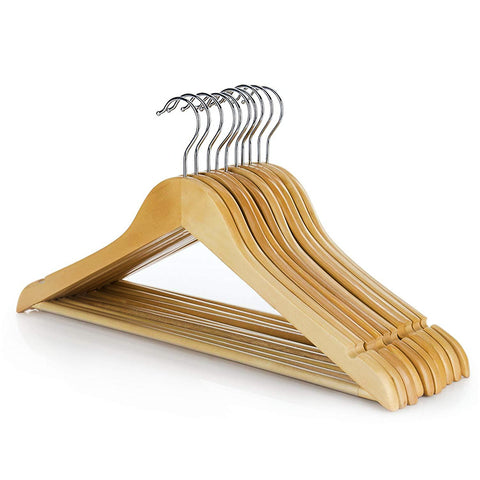Pack of 6 - Wooden Coat Clothes Hangers with Non Slip Trouser Bar - 45cm (18