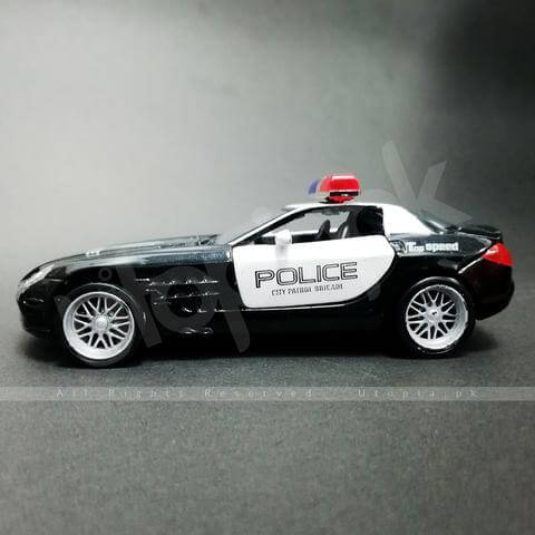 Die Cast Toy Car (Push & Go Toy Car, Heavy Metal Body) - Police Car - Black & White