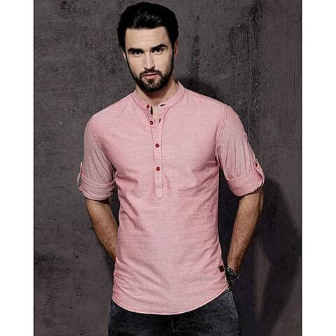 Regular Fit Solid Casual Shirt - Pink