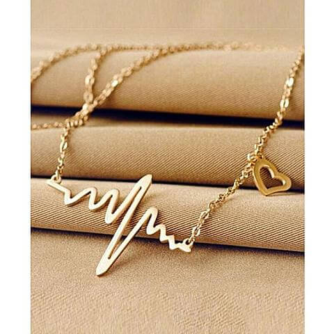 ECG Pendant Necklace for Women -Golden