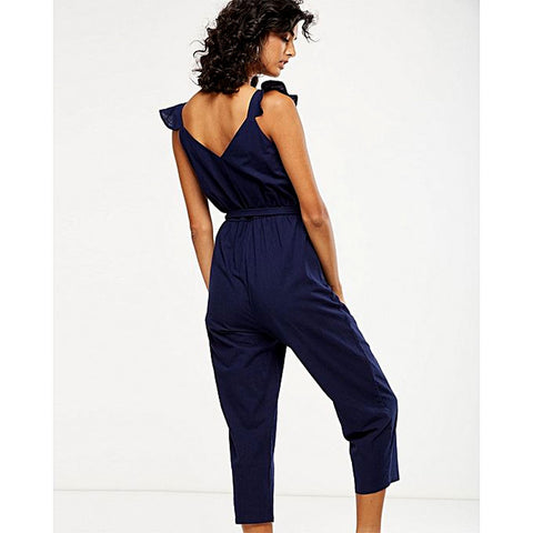 Cotton Tapered Jumpsuit For Women - Navy Blue