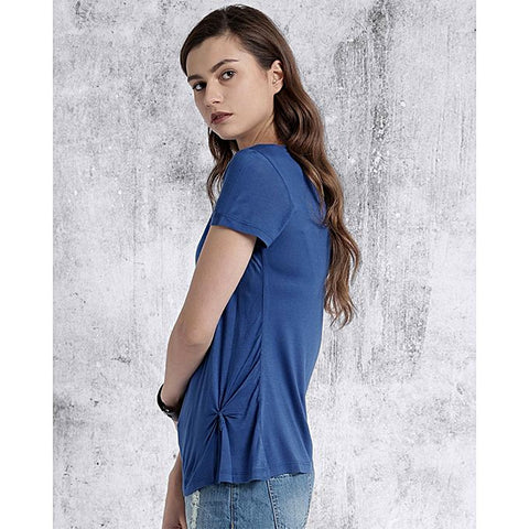 Katy & Cross Knotted Short Sleeve T-Shirt For Women -  Royal Blue