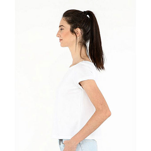 Katy & Cross Basic Cotton Crop Top For Women - White