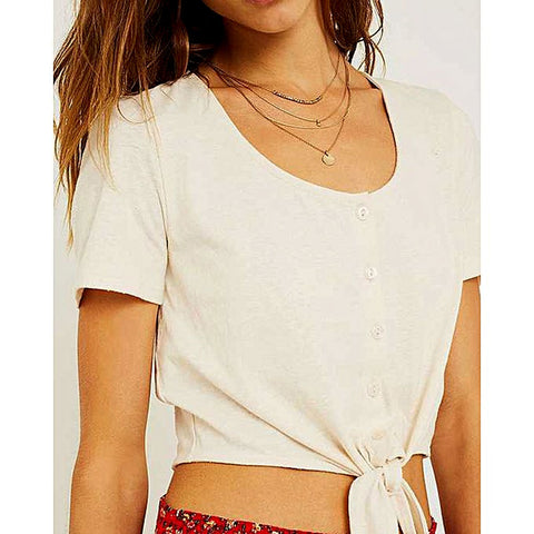 Katy & Cross Tie Front Buttondown T-Shirt For Women - White