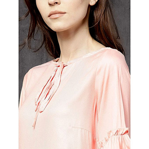 Silk Ruffled Detail A Line Top For Women - Baby Pink