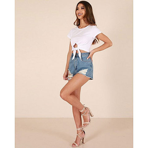 Katy & Cross Knotted Crop T-Shirt For Women - White