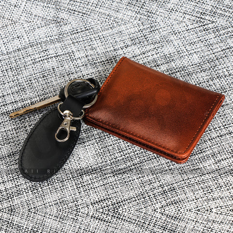 Leather Card Holder Mini Wallet for Men (100 % Original Leather) - Alex - Tan