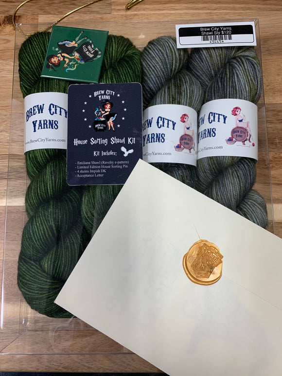 Brew City Yarns Kit House Sorting Shawl Slytherin