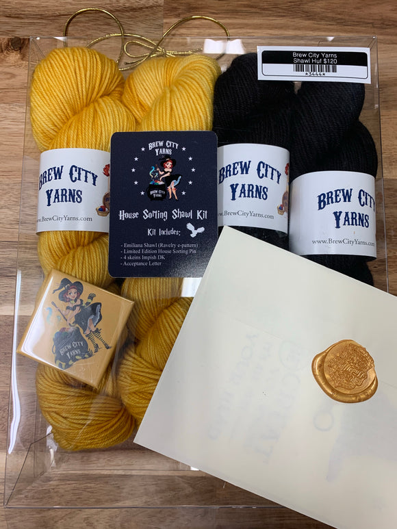 Brew City Yarns Kit House Sorting Shawl Hufflepuff