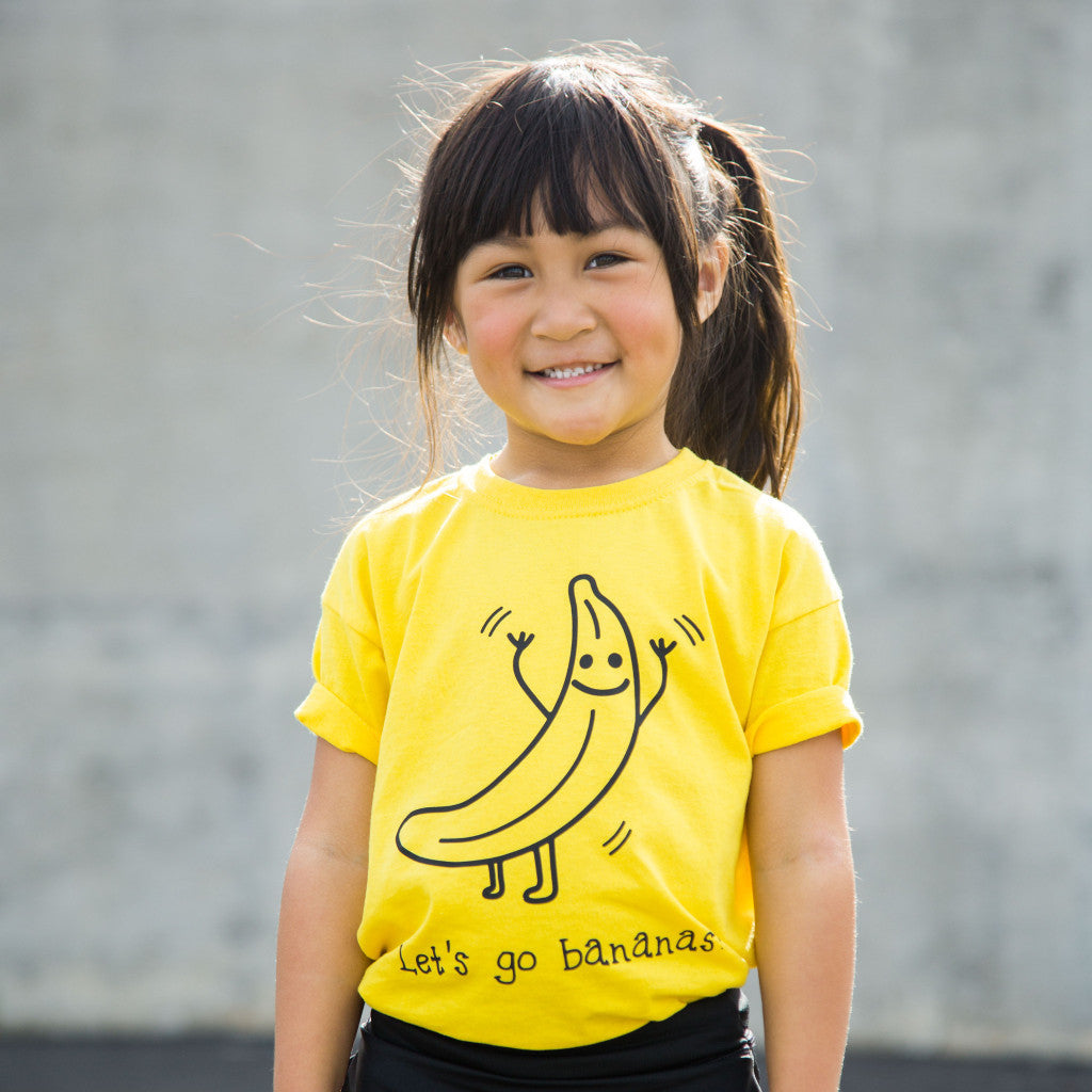 'Let's go bananas' kids shortsleeve shirt
