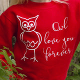 'Owl love you forever' kids sweater