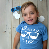 'All we see is the sea' kids shortsleeve shirt