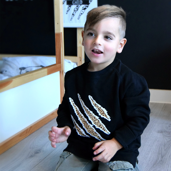 Leopard claws kids sweater