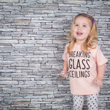 'Breaking glass ceilings' baby shortsleeve shirt