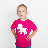 Unicorn glow in the dark kids shortsleeve shirt
