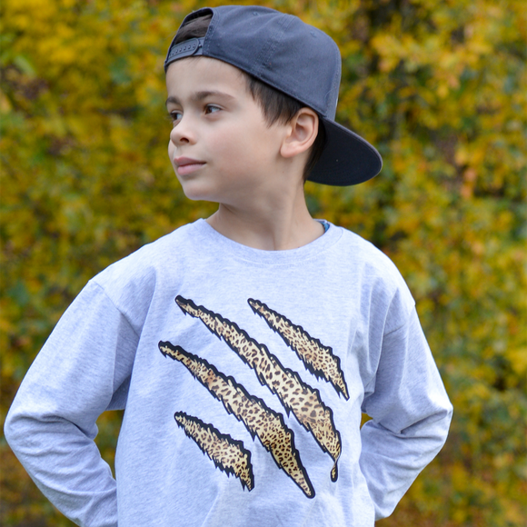 Leopard claws kids longsleeve shirt