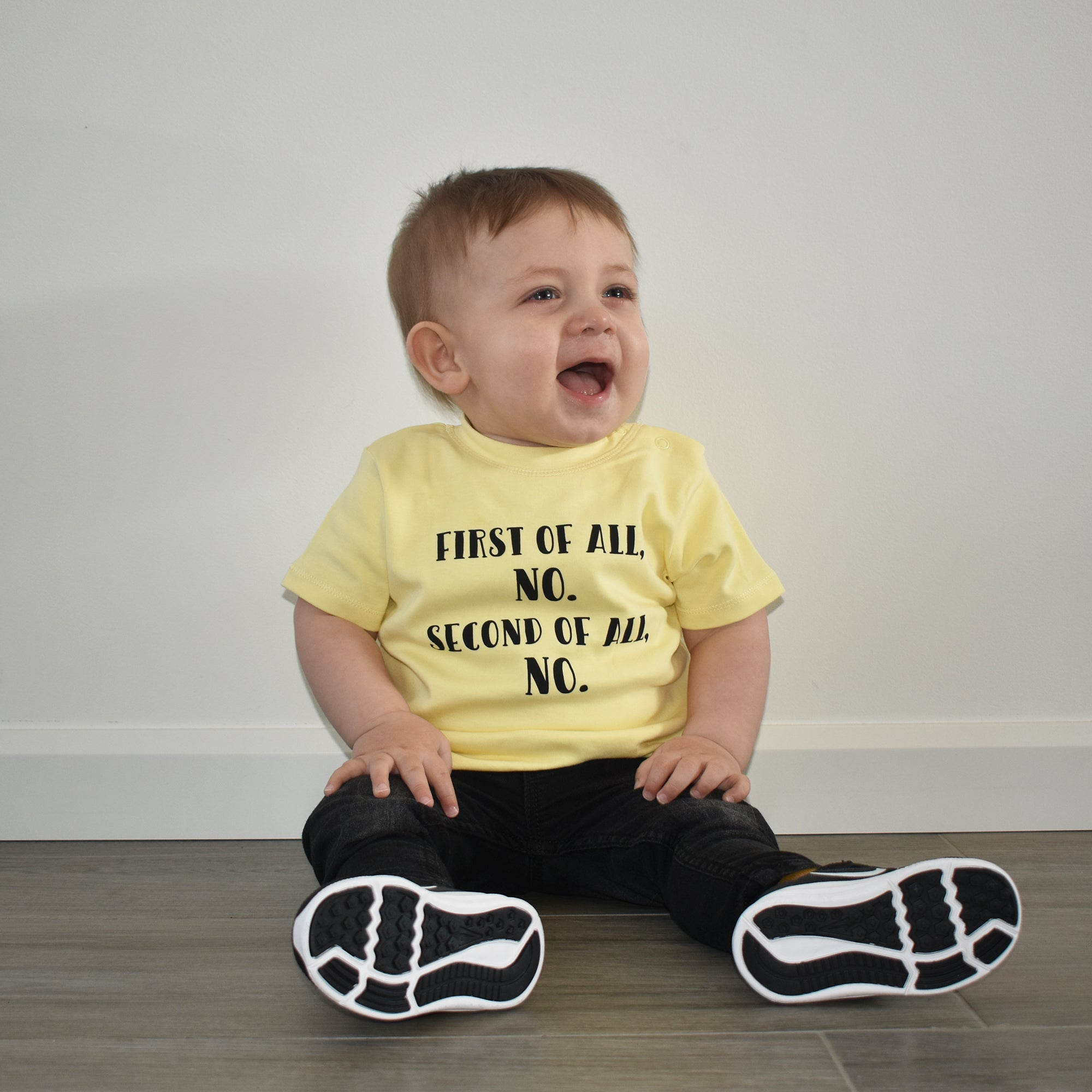 'First of all, no. Second of all, no.' baby shortsleeve shirt
