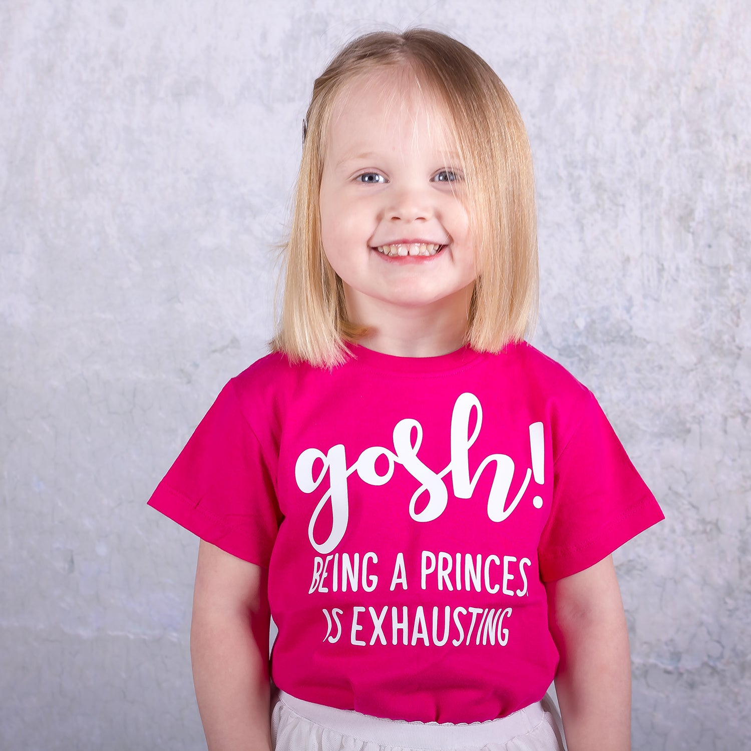 'Gosh! Being a princess is exhausting' kids shortsleeve shirt