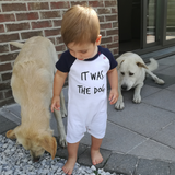 'It was the dog' baby shortsleeve romper