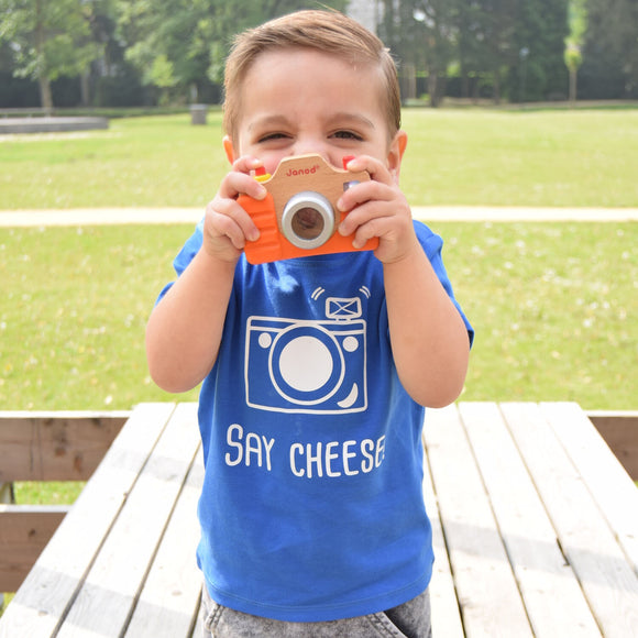 'Say Cheese' baby shortsleeve shirt