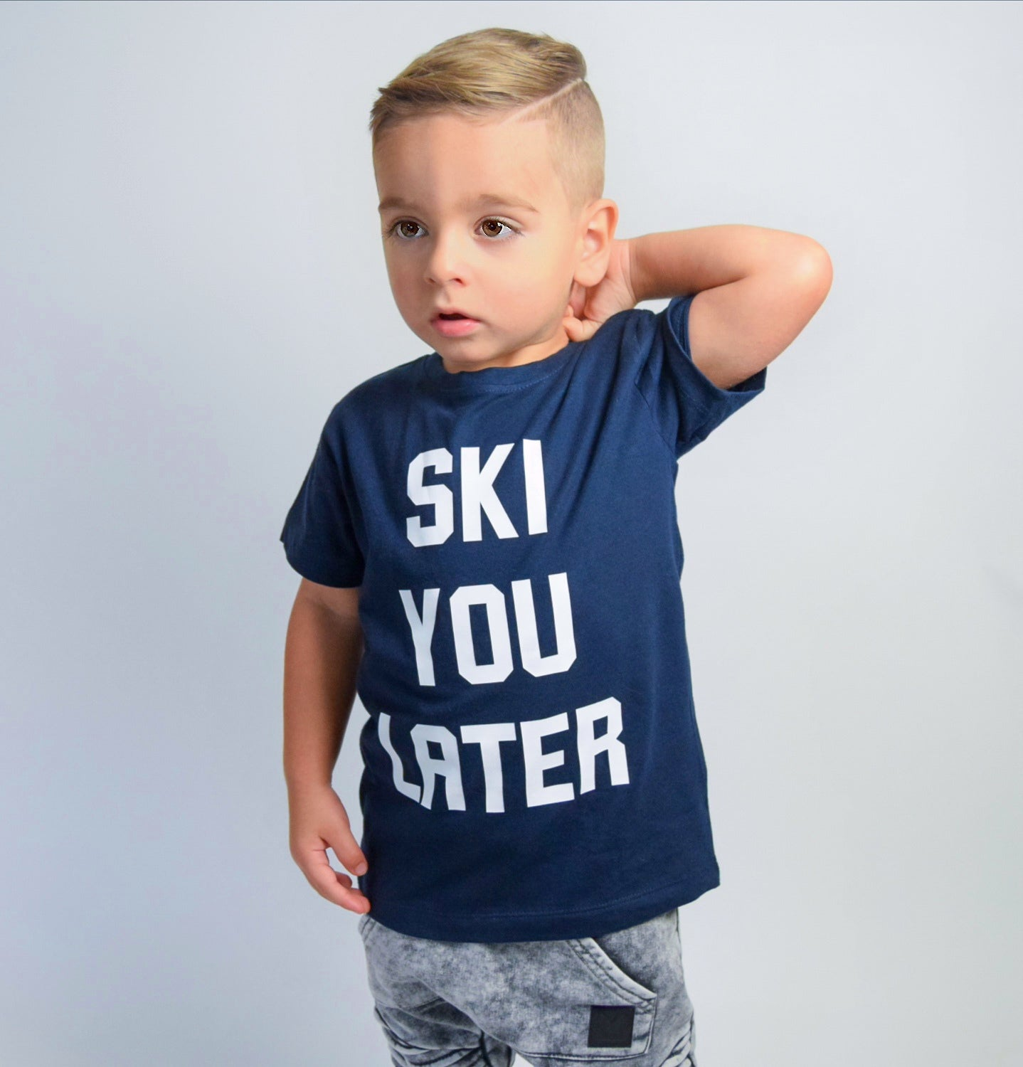'Ski you later' kids shortsleeve shirt