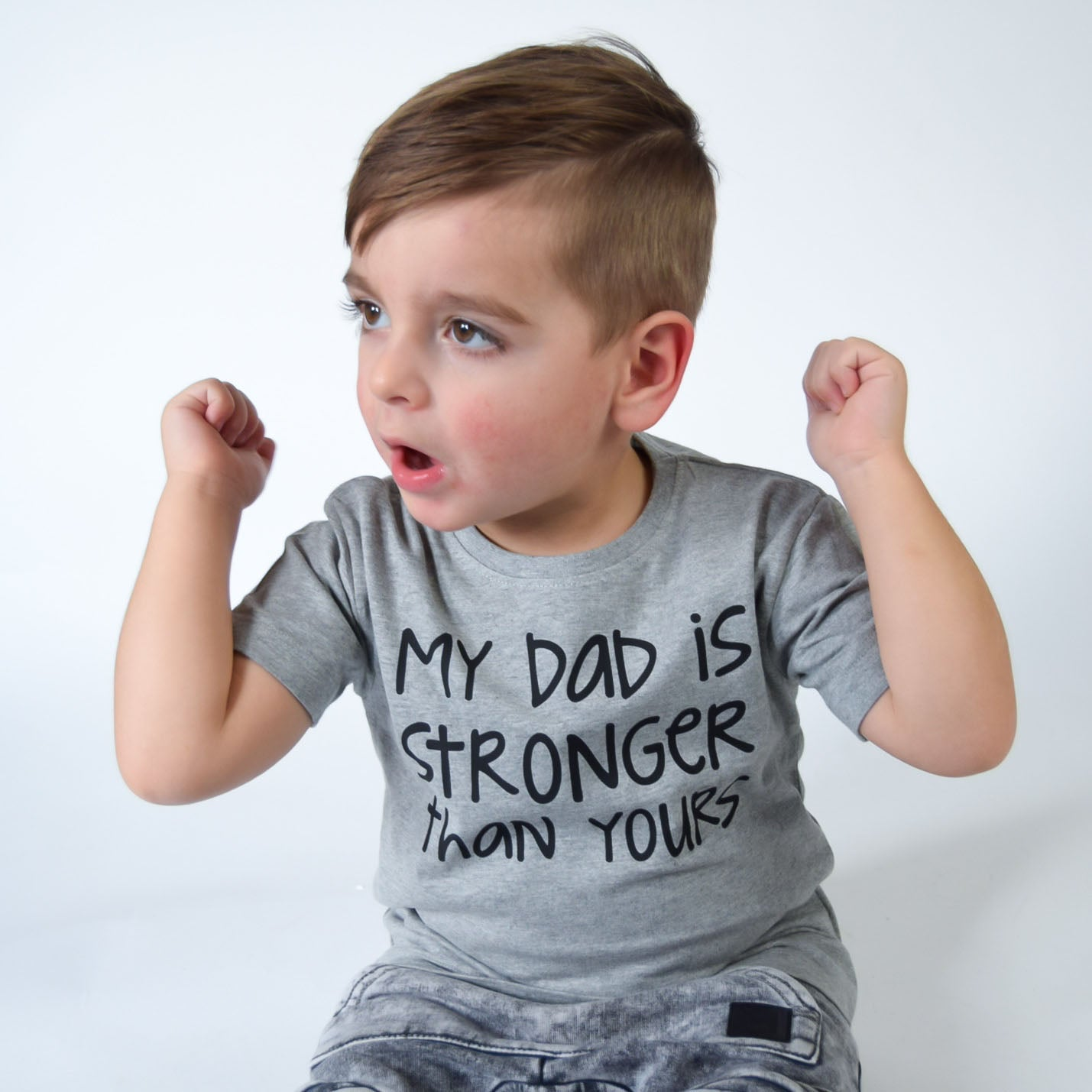 'My dad is stronger than yours' kids shortsleeve shirt