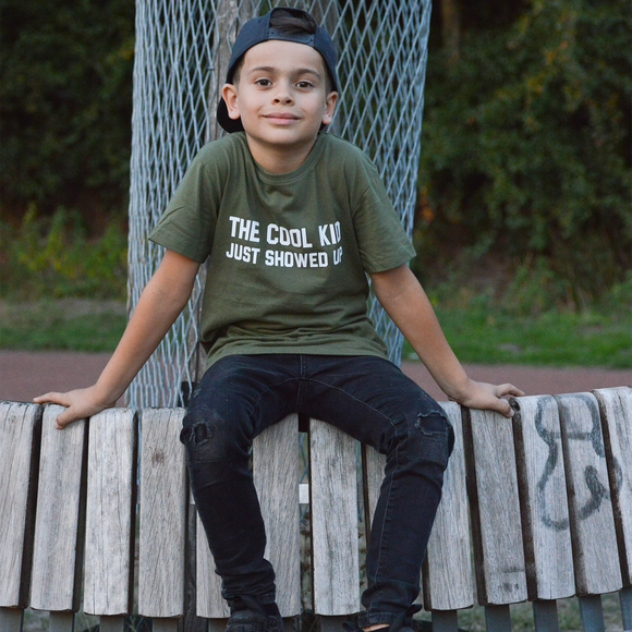'The cool kid just showed up' kids shortsleeve shirt