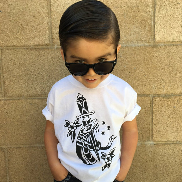 Snake and dagger kids tattoo shirt
