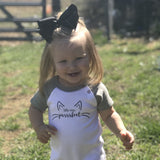 'Little miss purrrfect' baby shortsleeve romper