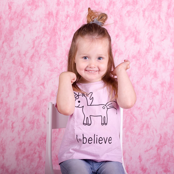 'I believe' unicorn kids shortsleeve shirt