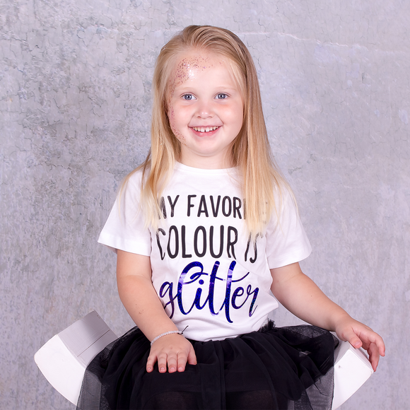 'My favorite colour is glitter' kids shortsleeve shirt