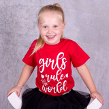 'Girls rule the world' kind shirt met korte mouwen
