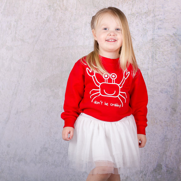'Don't be crabby' kids sweater