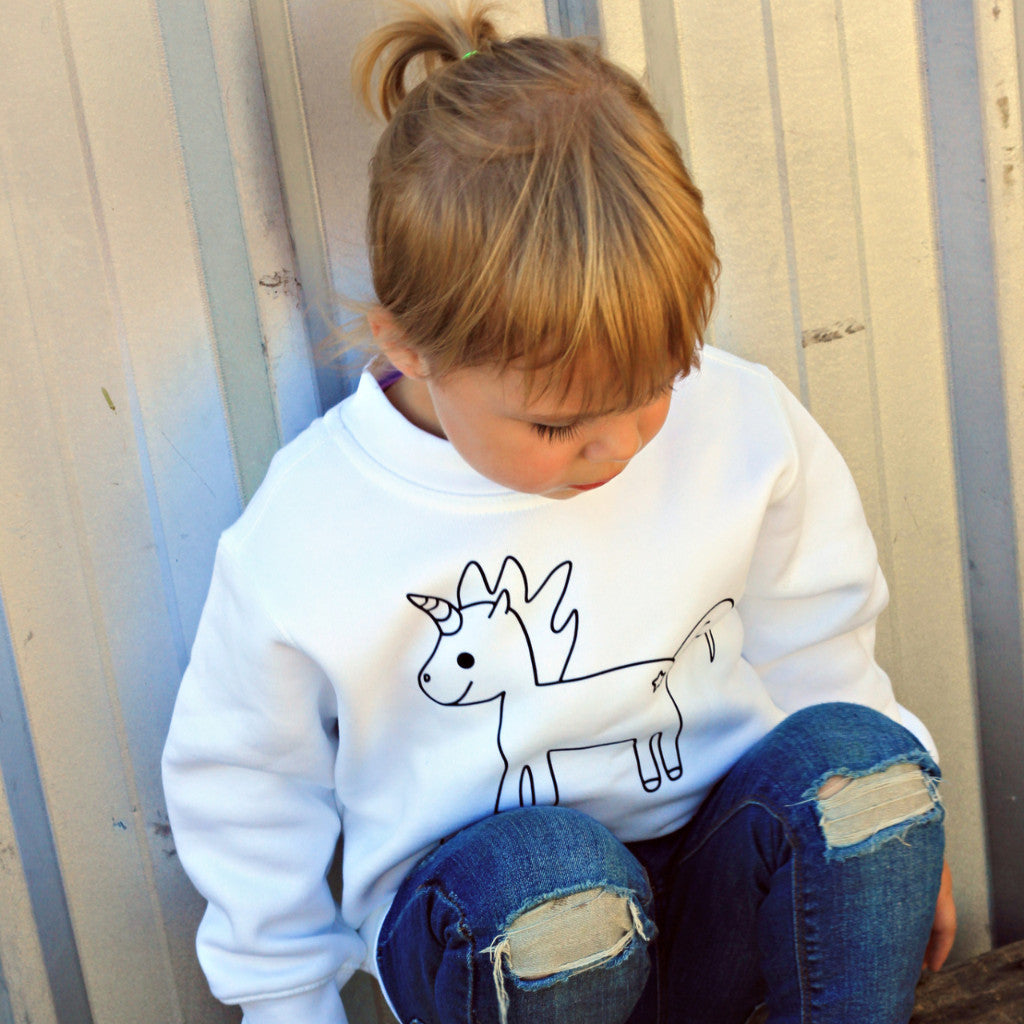 'I believe' unicorn kids sweater