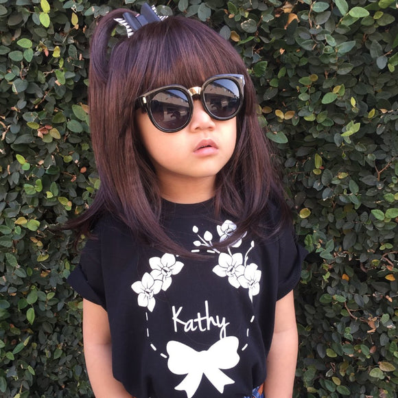 Bow and flowers kids shortsleeve shirt