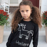 'I believe' unicorn kids longsleeve shirt