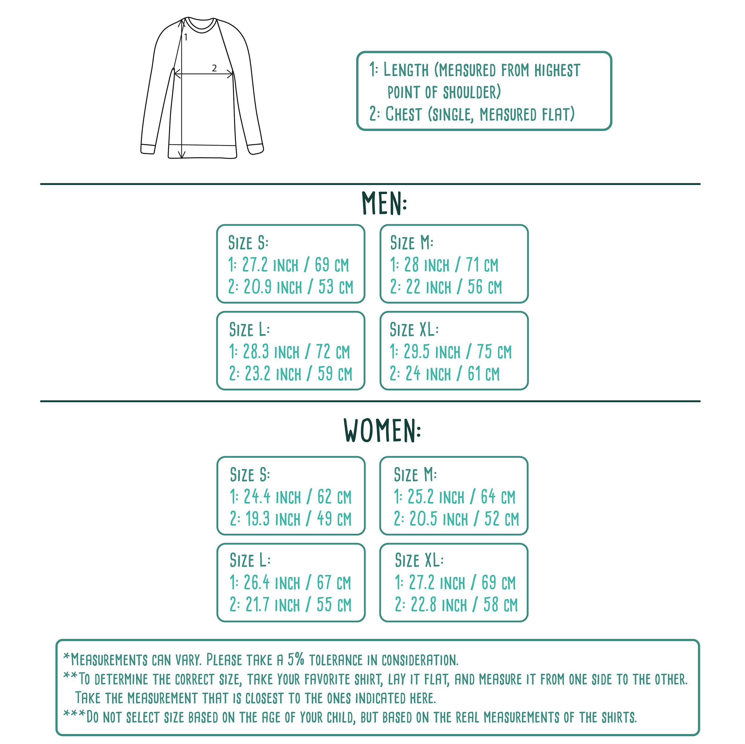 Size table for adult sweaters by KMLeon.