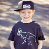 Dino with tophat kids shortsleeve shirt