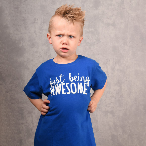 'Just being awesome' kids shortsleeve shirt