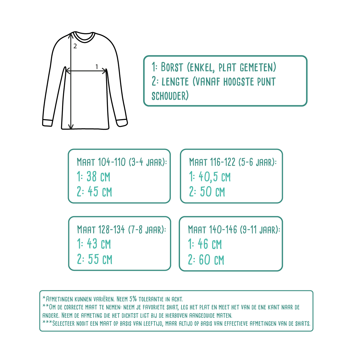 Size table for kids shirts with long sleeves by KMLeon.