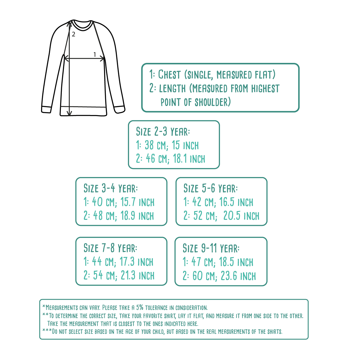 Size table for kids sweaters by KMLeon.